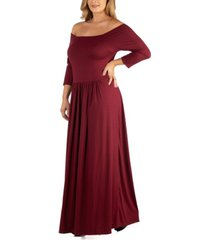 24seven comfort apparel off shoulder pleated waist plus size maxi dress
