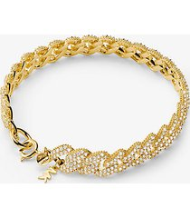 mk bracciale con maglie a catena in argento sterling e placcatura in metallo prezioso e pavé - oro (oro) - michael kors