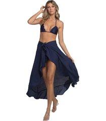 saia beach bruna azul marinho - tricae