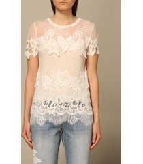 ermanno scervino top ermanno scervino cotton sweater with floral embroidery