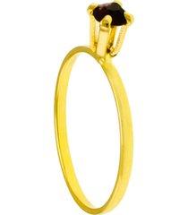 anel horus import solitã¡rio strass violeta banhado ouro amarelo 18k 1010054 - dourado - feminino - dafiti