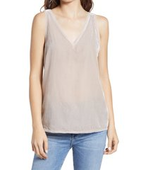 women's chelsea28 velvet raw edge tank, size medium - beige