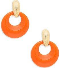kenneth jay lane women's goldtone doorknocker hoop earrings
