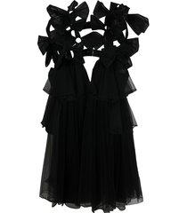 comme des garçons noir kei ninomiya bow-embellished tulle cape - black