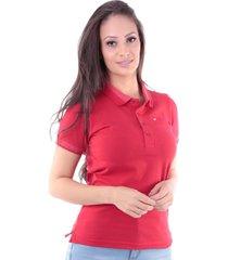 camisa polo regular em meia malha vermelho traymon cp0719