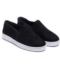 natori plume slip on shoes, women's, black, size s/7 natori