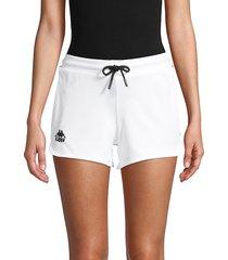 kappa women's drawstring shorts - white - size l
