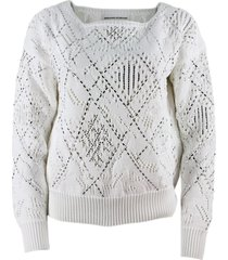 ermanno scervino long-sleeved boat neck sweater with crystals
