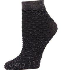 women's shimmer fishnet anklet socks