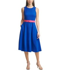 vince camuto laguna belted midi dress