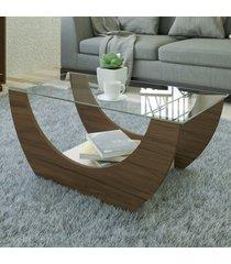 mesa de centro onda com nicho amêndoa/off white - artely