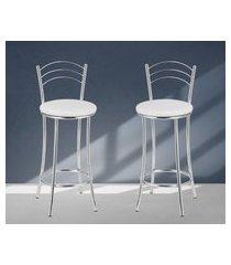 banquetas acabamento cromado assentos brancos lilies móveis