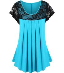 plus size lace panel see thru pleated t shirt
