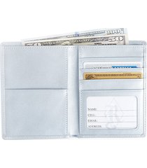 royce new york women's bi-fold passport rfid leather wallet - light blue