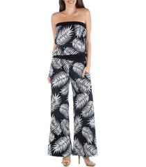 24seven comfort apparel botanical leaf print sleeveless jumpsuit with pockets