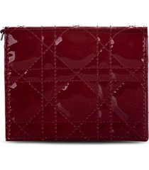 christian dior 2019 pre-owned mini lady dior wallet - red