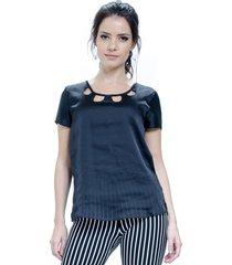 blusa 101 resort wear tunica decote vazado preto