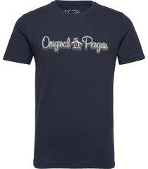 3d script logo t-shirt t-shirts short-sleeved blå original penguin