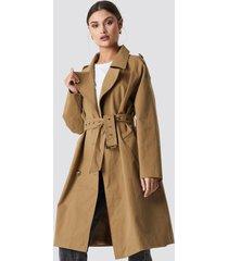 na-kd trend beige oversized trenchcoat - beige