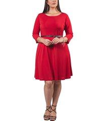 vestido adrissa plus rojo en punto silueta rotonda