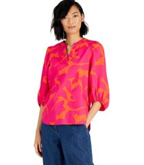 bar iii cotton printed balloon-sleeve blouse, created for macy's