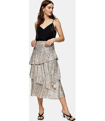 silver sequin tiered midi skirt - silver