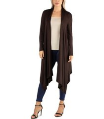 24seven comfort apparel long sleeve knee length open cardigan