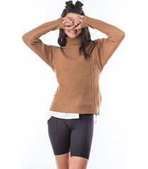 suéter tejido café cuello vuelto para mujer.