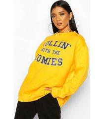 rolling with the homies slogan oversized sweatshirt, yellow