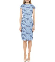 arabella floral embroidery sheath dress