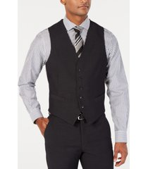 perry ellis men's portfolio slim-fit stretch black solid suit vest
