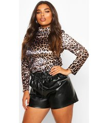 plus leopard velvet high neck longsleeve top, brown