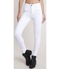 calça de sarja feminina sawary super skinny super lipo push up cintura alta branca
