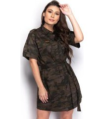 vestido chemise feminino camuflado curto militar casual - feminino
