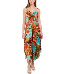 msk printed cage-back jumpsuit