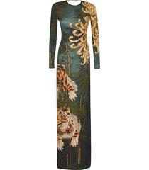 dsquared2 tiger print slim long dress