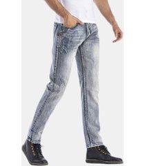 retro stone washed sottile gamba dritta jeans da uomo