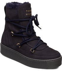 cosy bootie shoes boots ankle boots ankle boots flat heel svart tommy hilfiger