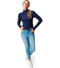 blusa cuello tortuga tela jersey viscosa para mujer color siete - navy