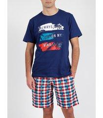 pyjama's / nachthemden admas for men pyjama kort t-shirt my mind admas