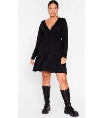womens smock their socks off plus mini dress - black