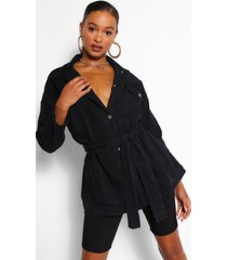 denim longline oversized belted jacket, black