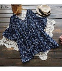 zanzea verano de las mujeres de manga corta con cuello en v de flores retro floja de gran tamaño de la blusa tops tee -azul