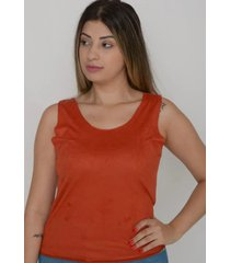 blusa regata tecido suede feminina - laranja - feminino - dafiti