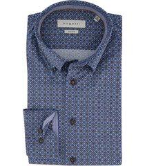 bugatti shirt blauw geprint bruin