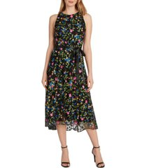 tahari asl floral-embroidered a-line dress