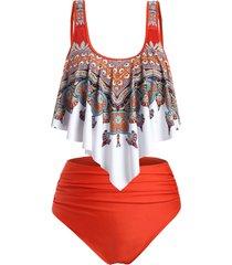 flounces printed high waisted ruched plus size tankini swimwear