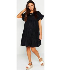 maternity broderie anglaise smock dress, black