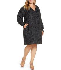 plus size women's bobeau yvonne dotted long sleeve shift dress