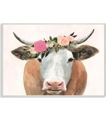 """stupell industries home decor collection springtime flower crown farm cow with horns wall plaque art 10"""" l x 0.5"""" w x 15"""" h"""